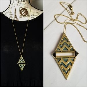 House Of Harlow Chevron Gold and Blue Necklace